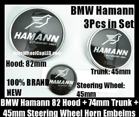 Emblem Stir Bmw Hamann 45mm bmw hamann black silver bonnet boot emblems 82mm trunk 74mm steering wheel horn 45mm 3pcs