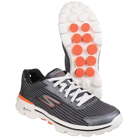 skechers go walk 3 fit knit s charcoal orange sports