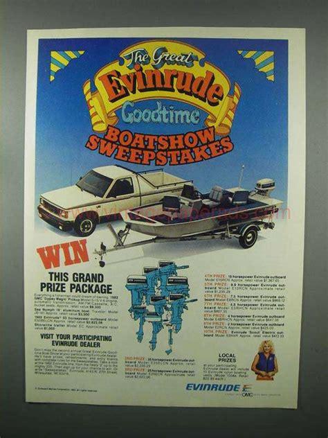 Sweepstakes Ad - 1982 evinrude outboard motor ad boatshow sweepstakes