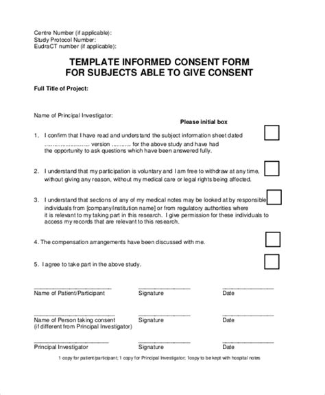 informed consent template for research sle informed consent forms 11 free documents in word