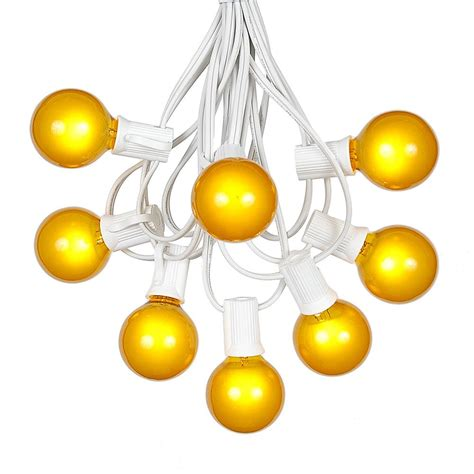 100 Yellow G40 Globe Round Outdoor String Light Set On Yellow String Lights