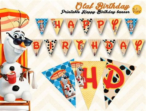 free printable olaf birthday banner olaf printable happy birthday banner plus cake toppers