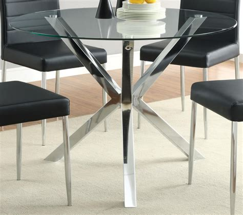 coaster vance glass top dining table w chrome base 120760