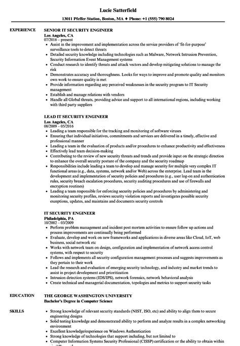 Security Engineer Resume by It Security Engineer Resume Sles Velvet