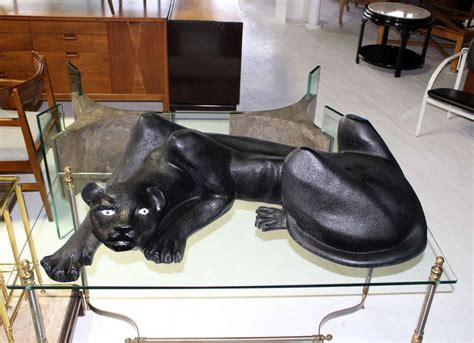 large coffee table sculptural base of a panther for sale