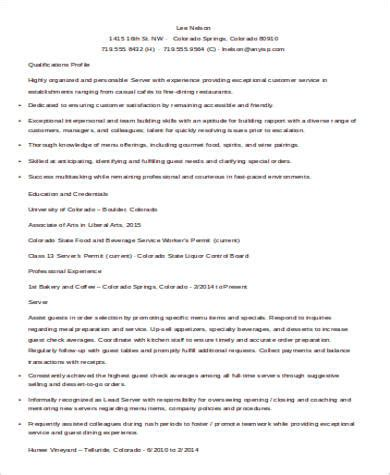restaurant resume sles server 28 images restaurant