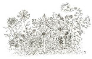 How To Draw A Garden With Flowers Print Flower Garden Giclee In Black And White From By Illustrarti