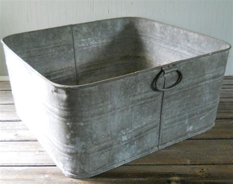 Large Galvanized Tubs vintage galvanized wash tub large square