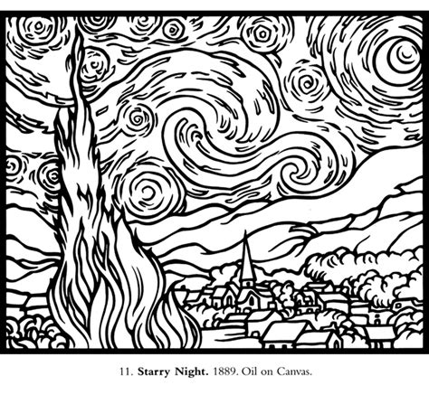 printable paint by numbers van gogh free coloring pages of starry night