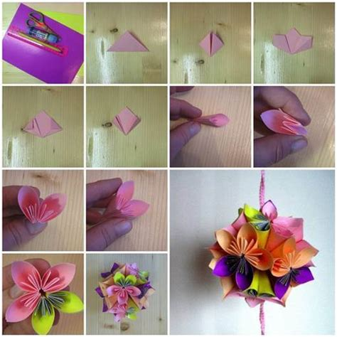 How To Make Flower Paper Balls - diy origami paper flower