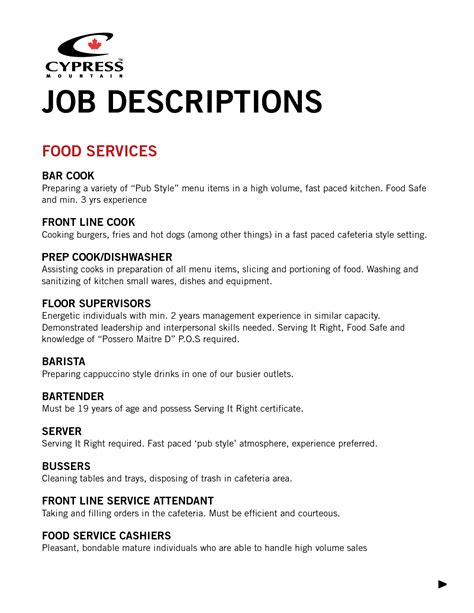 food service worker job description resume resume ideas