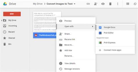 google drive  convert image  text ocr