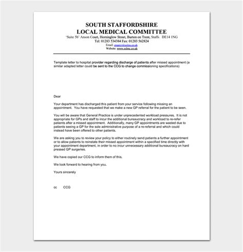 appointment letter format for hospital staff missed appointment letter 10 sle letters