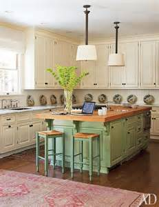 Kitchens With Different Colored Islands by Ivory Cabinets Celadon Kitchen Island Mojan Sami