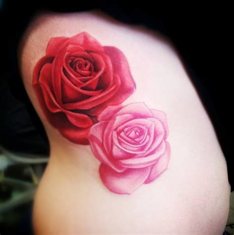 red roses tattoo traditional and pink