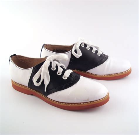 saddle oxford shoes leather vintage 1980s s black