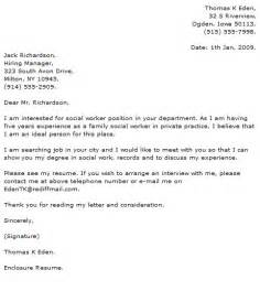 cover letter for social worker position social work cover letter exles