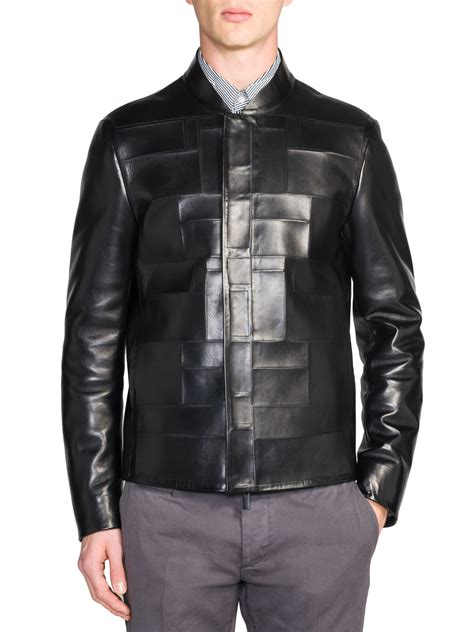 Patchwork Jacket - lyst fendi tonal patchwork leather jacket in black for