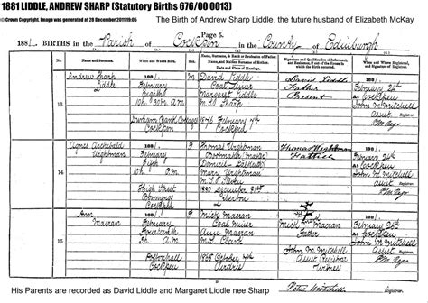 Birth Marriage Records Isle Of Liddle Stott And Beck Family Certificates Mackay Family Research