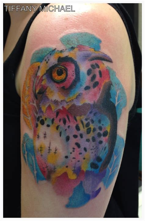 owl watercolor tattoo watercolor owl tattoos i did