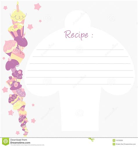 cupcake recipe card template recipe template stock vector image of brochure bakery