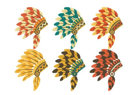 tribal pattern headdress indian headdress set vector download free vector art