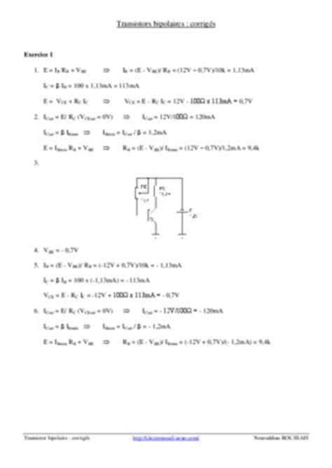 transistor npn exercices corrigés pdf diodes exercices corriges pdf 28 images exercices corriges sur le transistor a effet ch