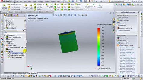 solidworks tutorial youtube 2011 solidworks 2011 tutorials simulation stress