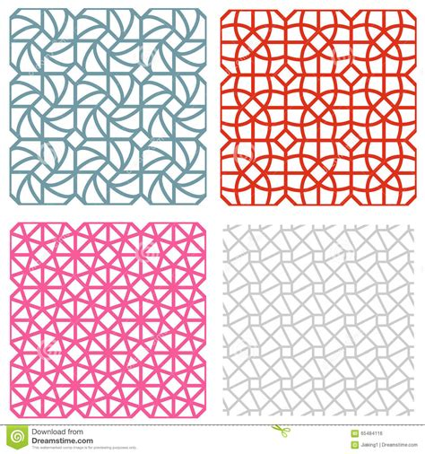 korean pattern vector geometric mesh seamless pattern in korean style stock