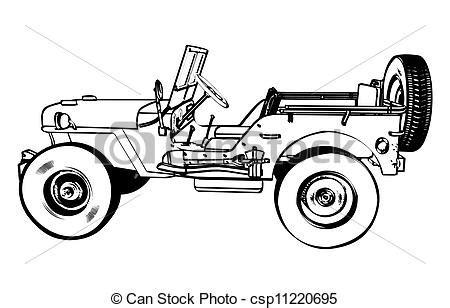 jeep logo drawing vetor eps de wwii vindima americano jipe vintage