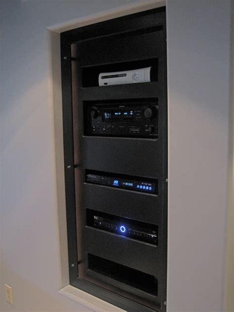 home theater rack modern basement cleveland by