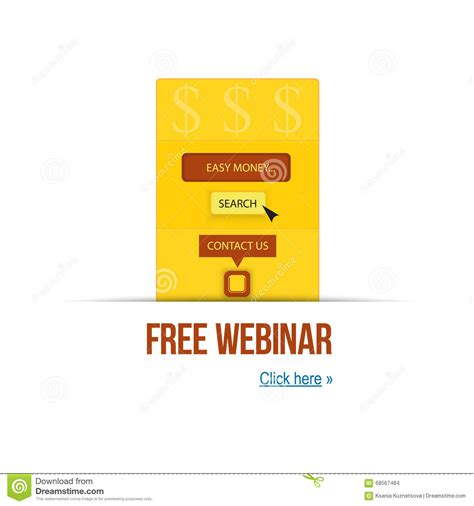 Vector Illustration Concept Of Free Webinar And Easy Money For Your Presentation And Website Webinar Presentation Template