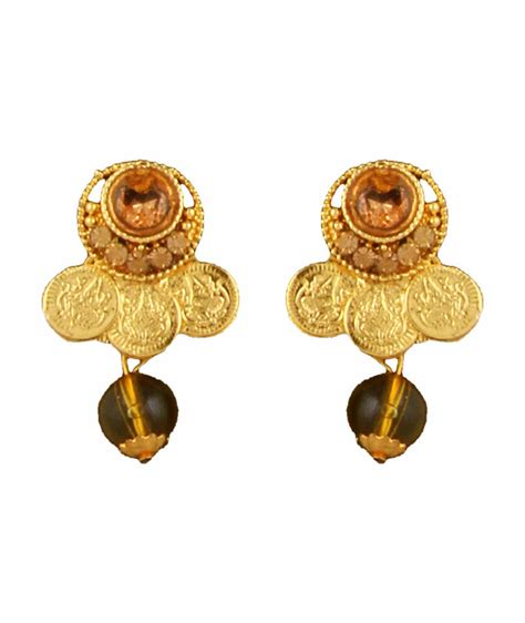 buy crystal jewelry sets onlinelaxmi coin setsearrings buy gold plated goddess laxmi coin temple pendant earrings