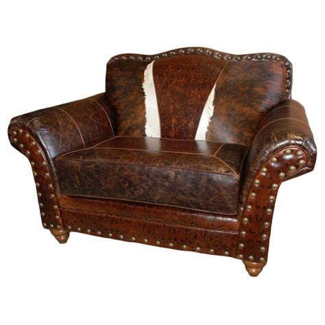 blue leather chair and a half western royalty chair and a half
