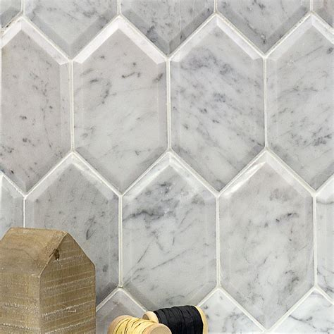 shop for beveled white carrara hexagon polished marble tile at tilebar com