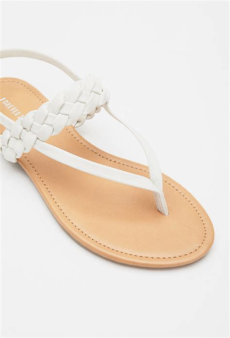 faux leather sandals lyst forever 21 braided faux leather sandals in white