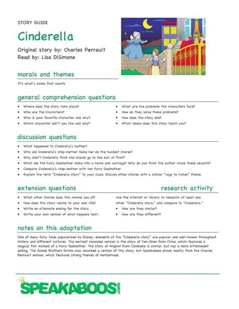 themes in cinderella stories lesson plans cinderella speakaboos worksheets