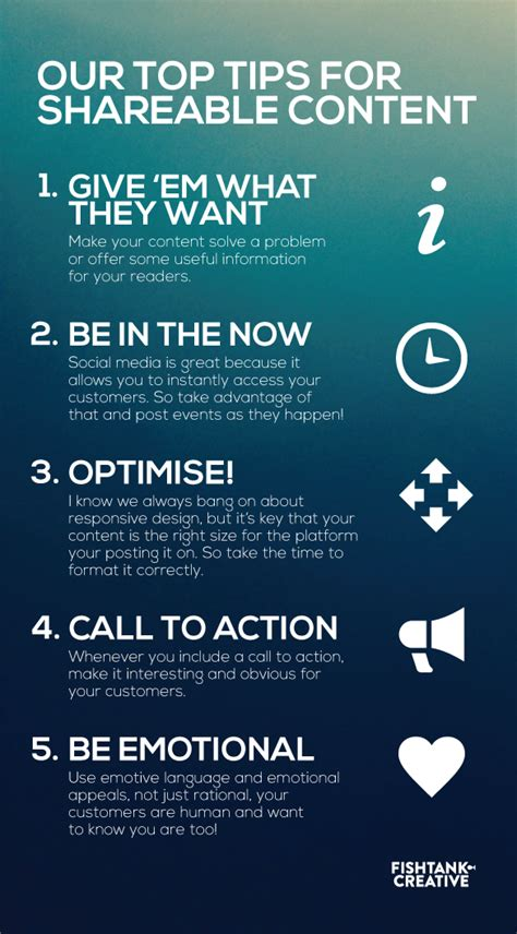 Tips On Creating The Top by Our Top Tips For Shareable Content Fish Tank