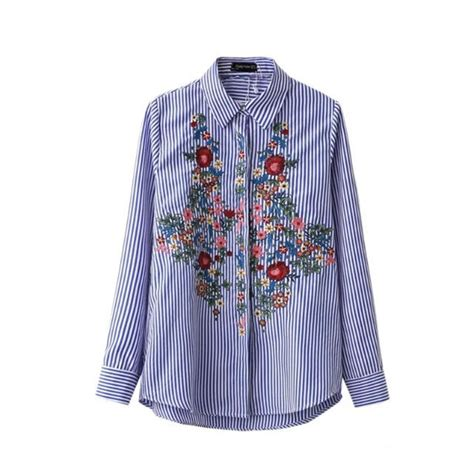 43038 Blue Stripe Flowers Blouse 1 floral embroidery blouse cotton striped shirt sleeve turn blue shirts