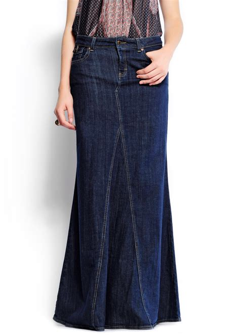 mango mermaid shape denim skirt in blue ts lyst