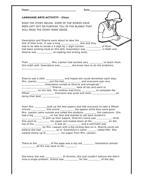 Cloze Reading Worksheets by Cloze Activity Worksheet