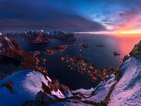 lofoten norway sunset twilight   horizon winter