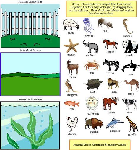 printable animal habitats animal habitats worksheets for kindergarten english