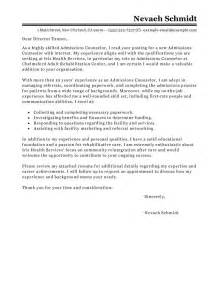 Professional Counselor Cover Letter by Sle Cover Letter For Admissions Counselor Free Resume Templates