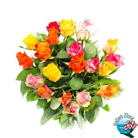 fiori per una ragazza bouquet di roselline gialle arancio e rosa