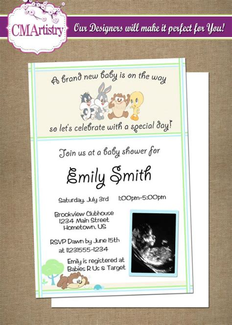 8 Nice Baby Looney Tunes Baby Shower Invitation Templates Ebookzdb Com Looney Tunes Invitations Templates
