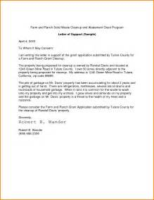 template for letter of support letter of support exle best business template