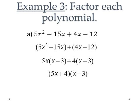 Factor The Common Factor Out Of Each Expression Worksheet by 5 4 Factoring Polynomials Ppt