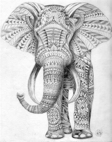 aztec elephant coloring page tribal elephant art pinterest