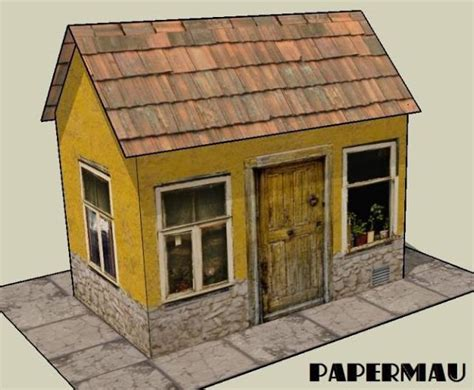 easy to build houses papermau easy to build yellow house paper model by